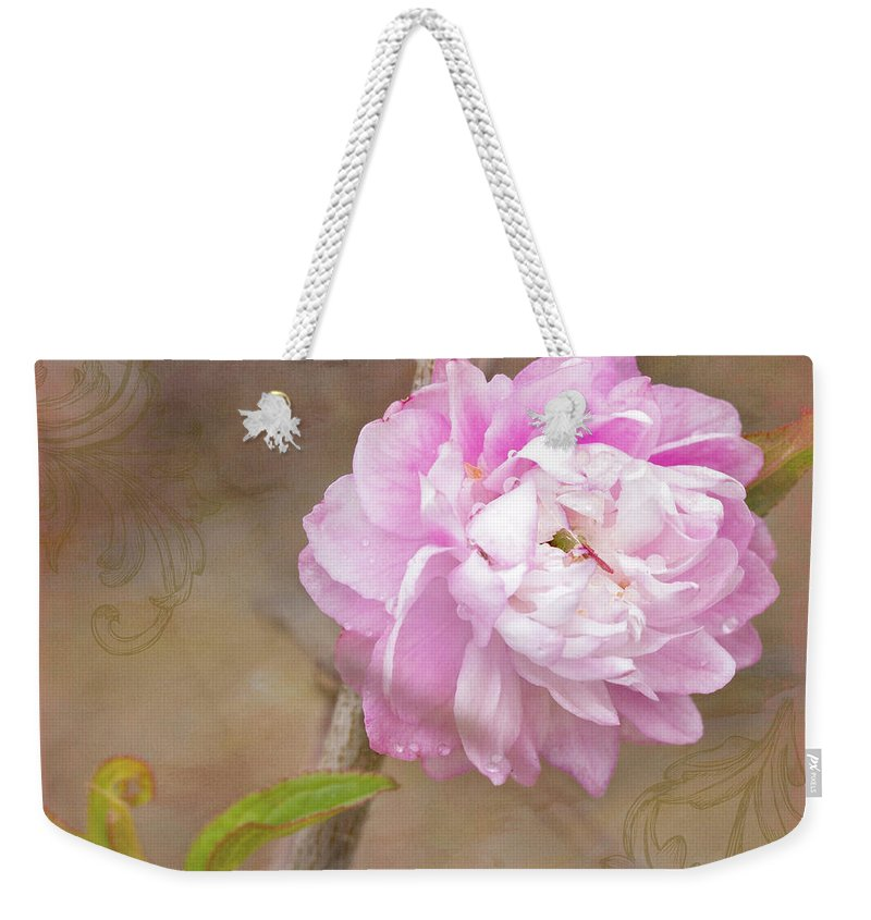 Dwarf Weekender Tote Bag featuring the photograph Dwarf Flowering Almond Romantic Floral by Betty Denise