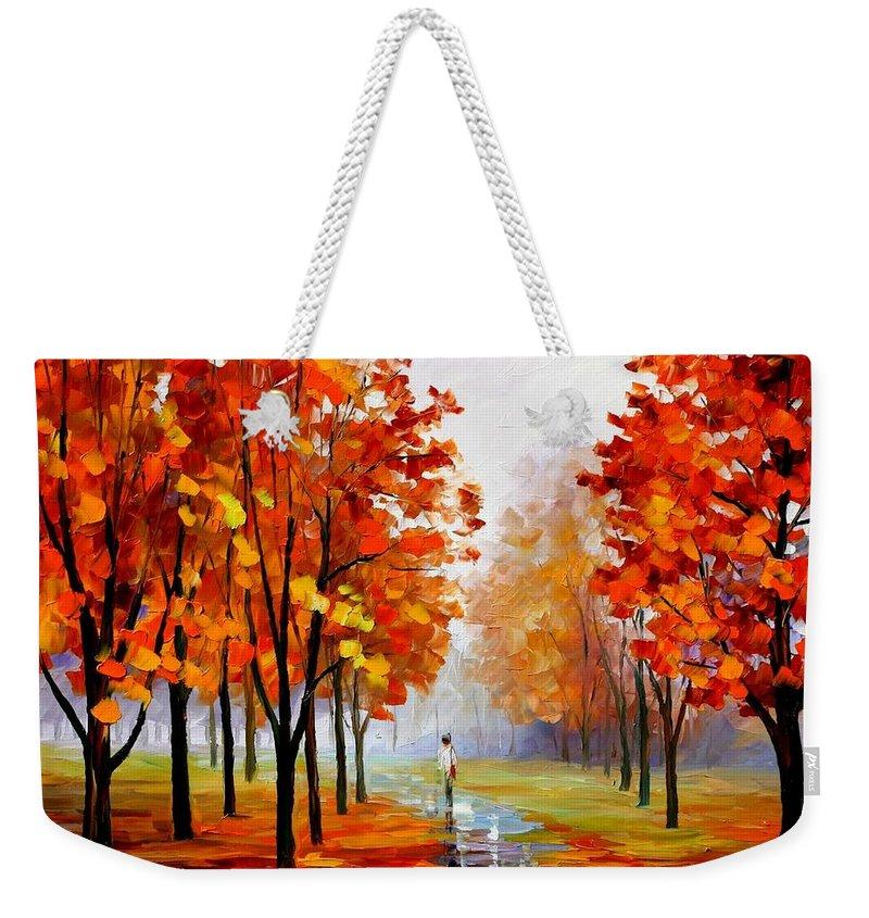 Afremov Weekender Tote Bag featuring the painting Pink Fog by Leonid Afremov