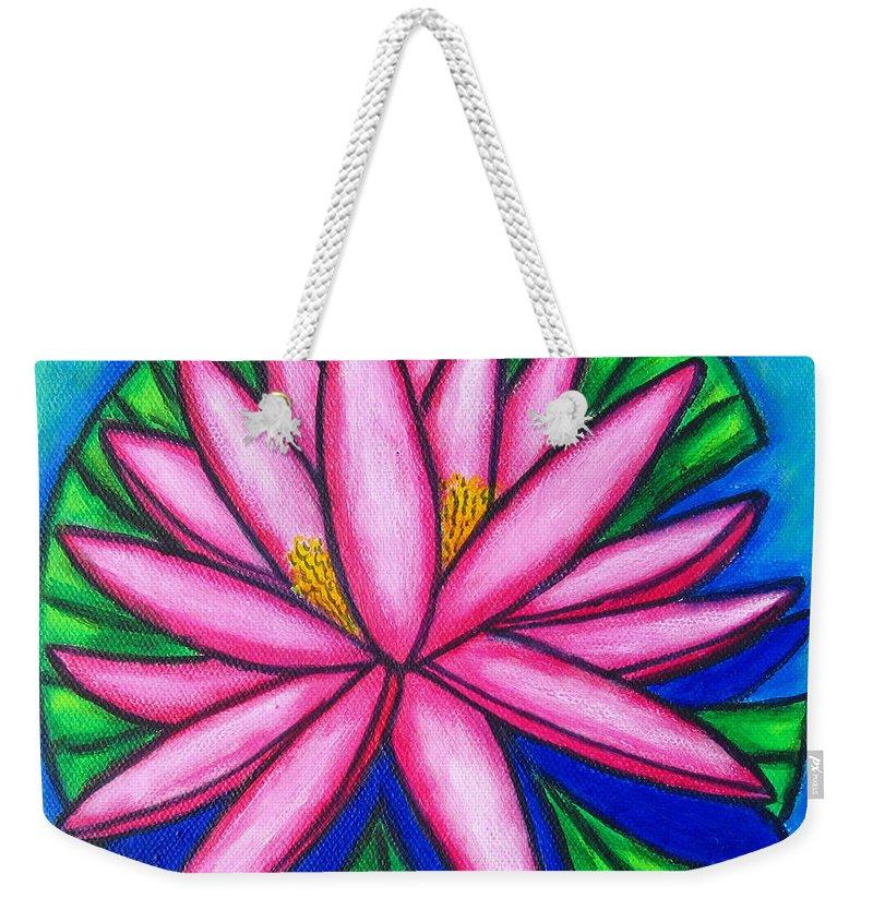 Water Lilies Weekender Tote Bag featuring the painting Pink Gem 2 by Lisa Lorenz