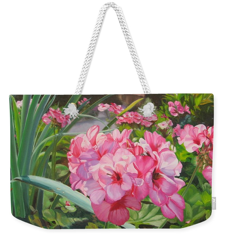 Pink Geraniums Weekender Tote Bag featuring the painting Pink Geraniums by Lea Novak