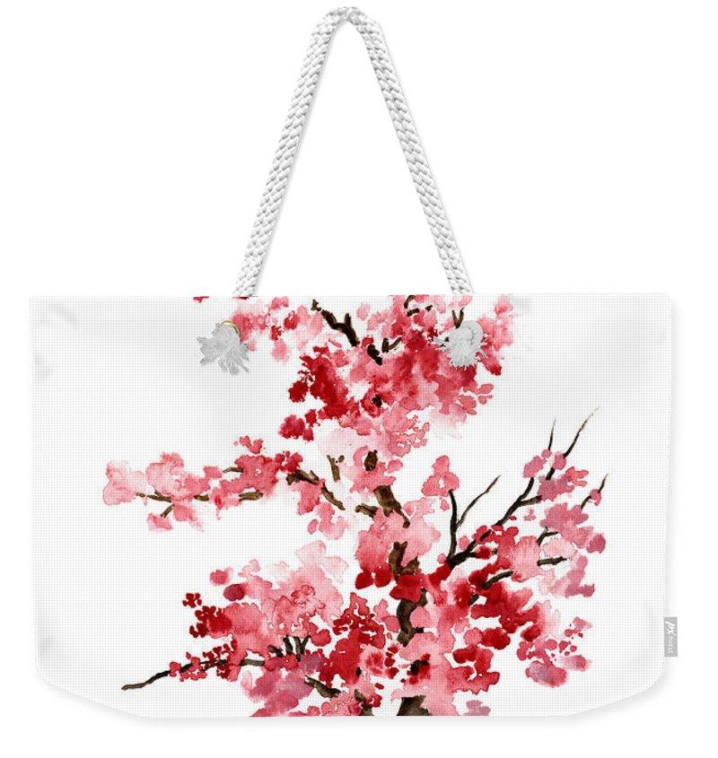 Floral Half Print Pink Weekender Bag