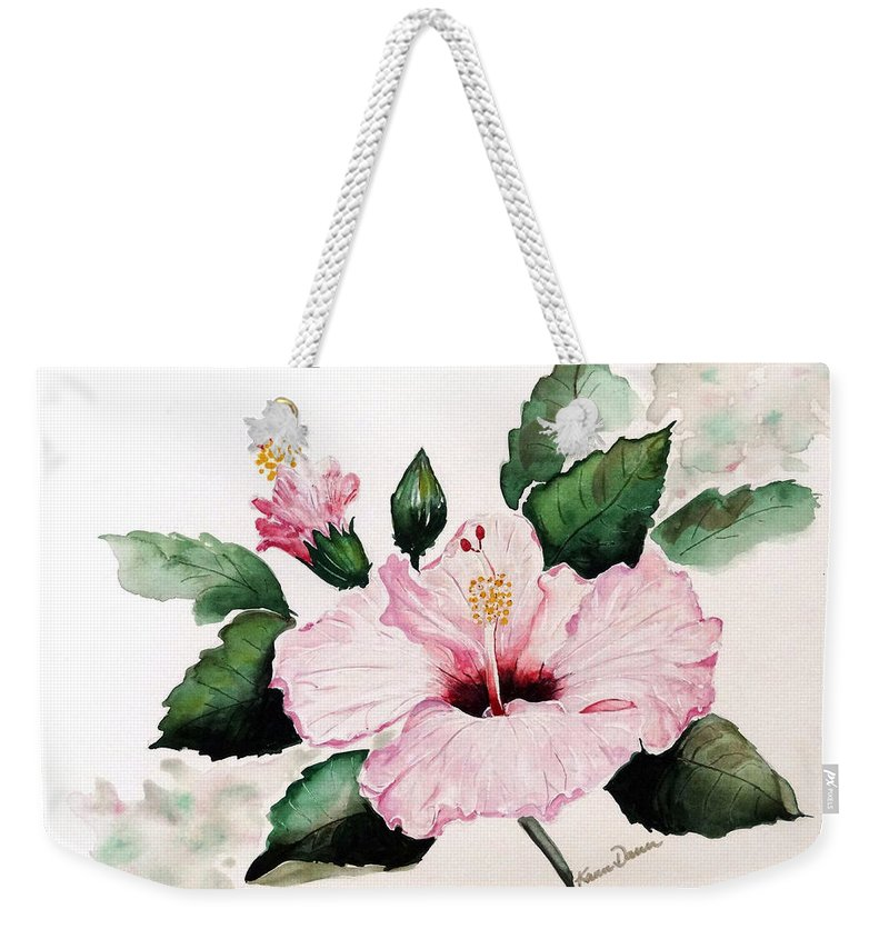 Hibiscus Painting  Floral Painting Flower Pink Hibiscus Tropical Bloom Caribbean Painting Weekender Tote Bag featuring the painting Pink Hibiscus by Karin Dawn Kelshall- Best
