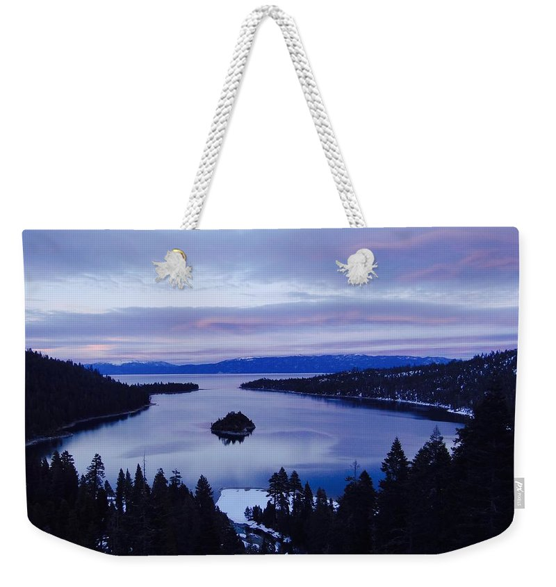 Emerald Bay Weekender Tote Bag featuring the photograph Pink Hues On Emerald Bay by Charlotte Patterson