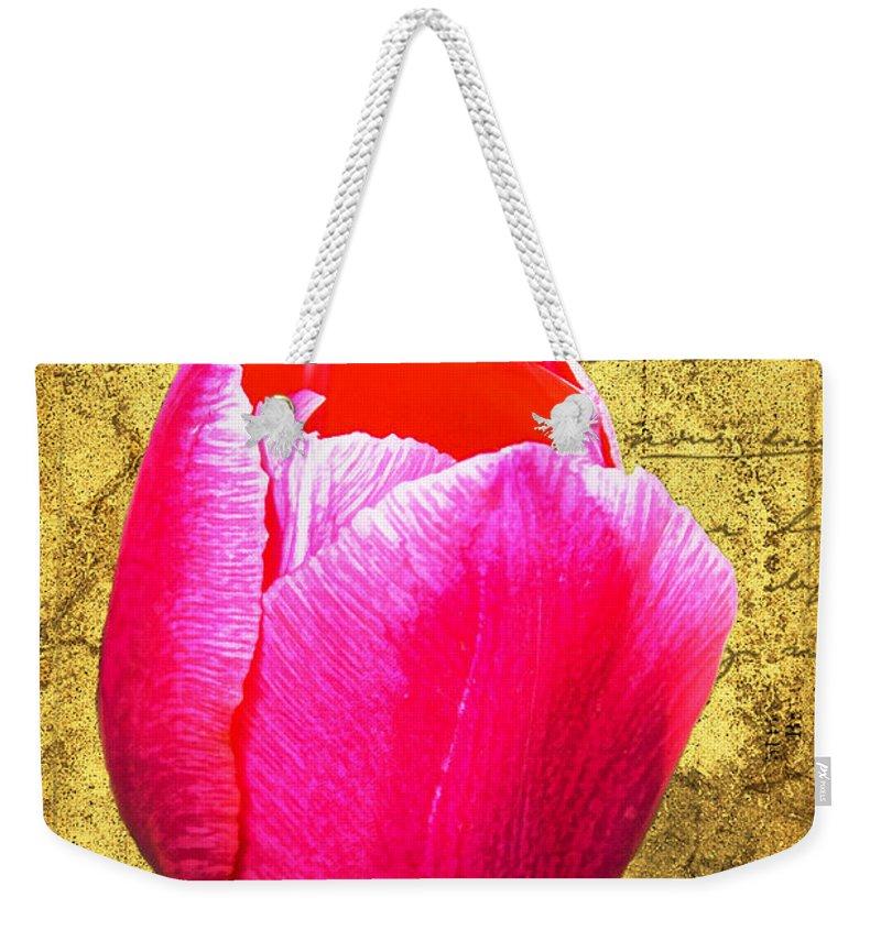 Pink Weekender Tote Bag featuring the digital art Pink Impression Tulip by Teresa Mucha