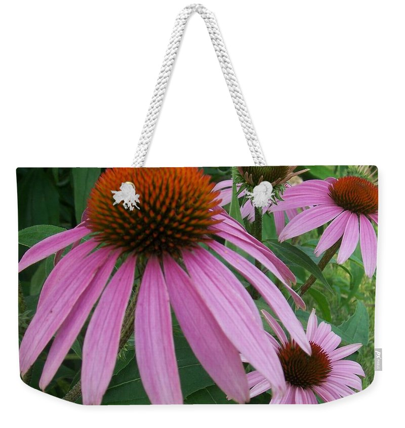 Flowers Weekender Tote Bag featuring the photograph Pink In The Garden by Anita Burgermeister