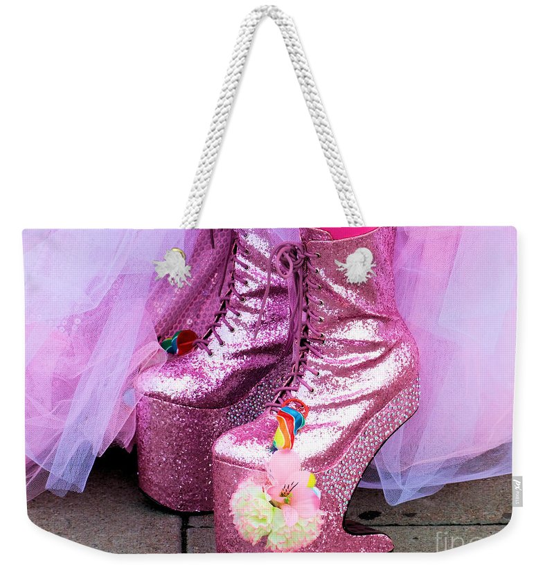 Brighton Weekender Tote Bag featuring the photograph Pink by Jamie McGrane