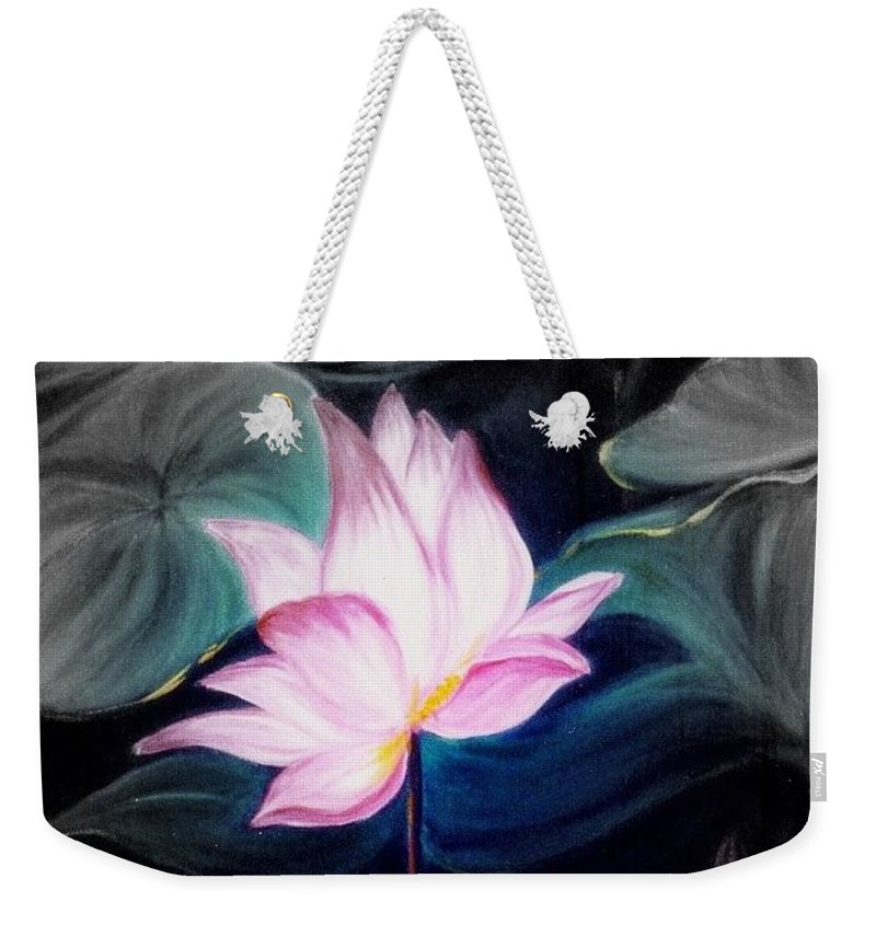 Lotus Weekender Tote Bag featuring the painting Pink Lotus by Dina Holland
