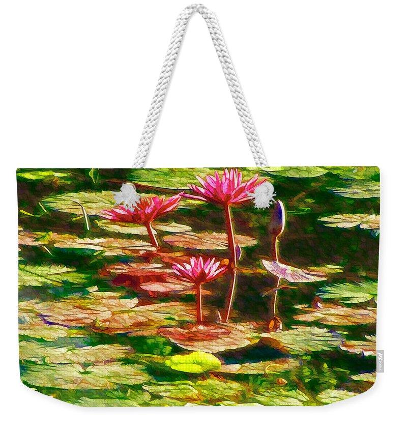 White Lotus Flower Weekender Tote Bag featuring the painting Pink Lotus Flower 2 by Jeelan Clark