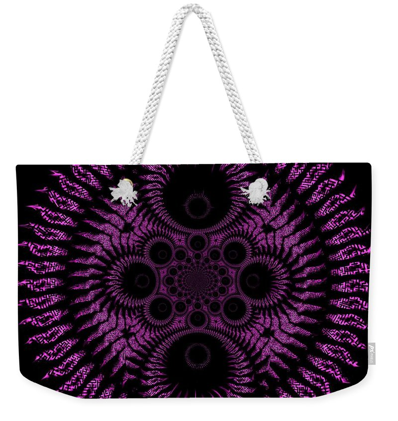Spiral Weekender Tote Bag featuring the digital art Pink Madness by Charleen Treasures