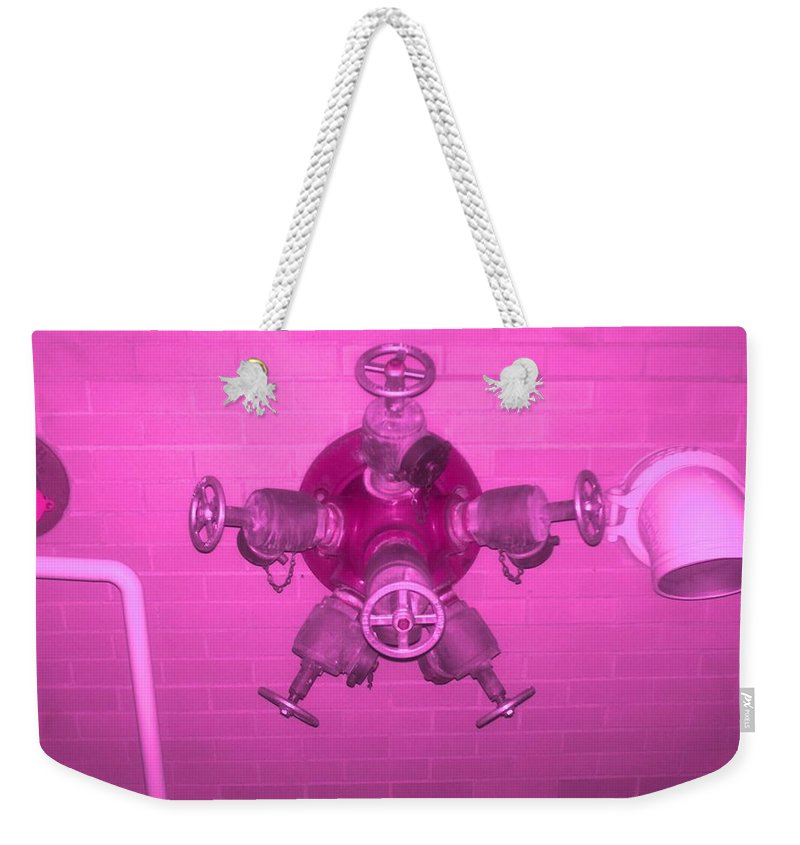 Photograph Weekender Tote Bag featuring the photograph Pink Male Pipe by Thomas Valentine