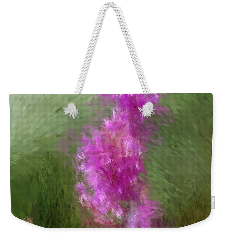Abstract Weekender Tote Bag featuring the digital art Pink Nature Abstract by David Lane