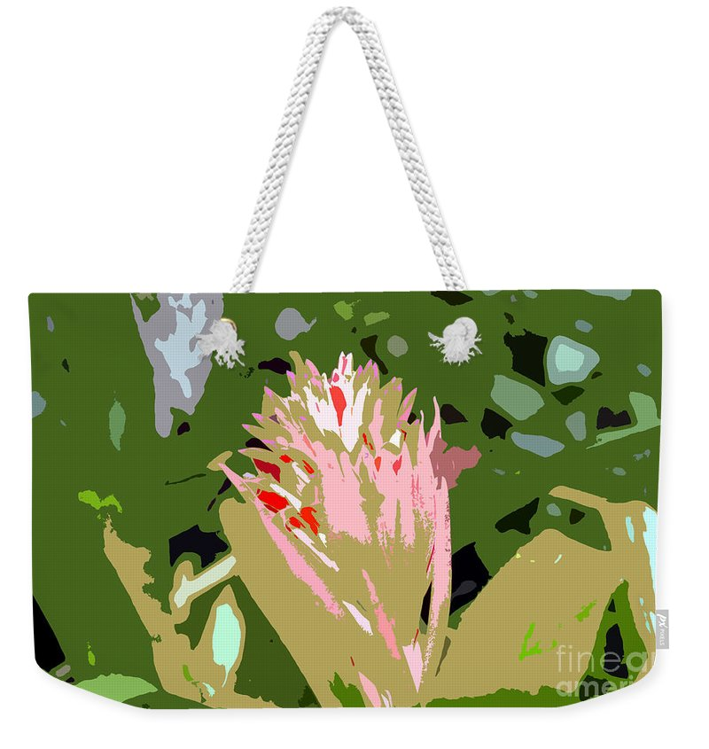 Flower Weekender Tote Bag featuring the photograph Pink On Green Work Number 6 by David Lee Thompson