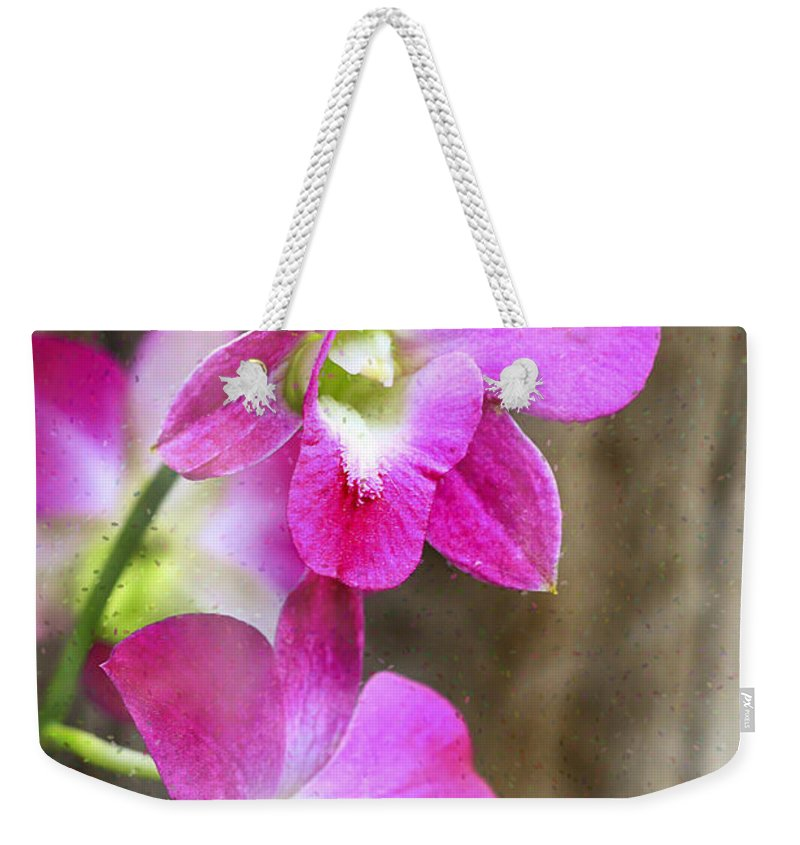 Orchids Weekender Tote Bag featuring the photograph Pink Orchid Duo by Deborah Benoit
