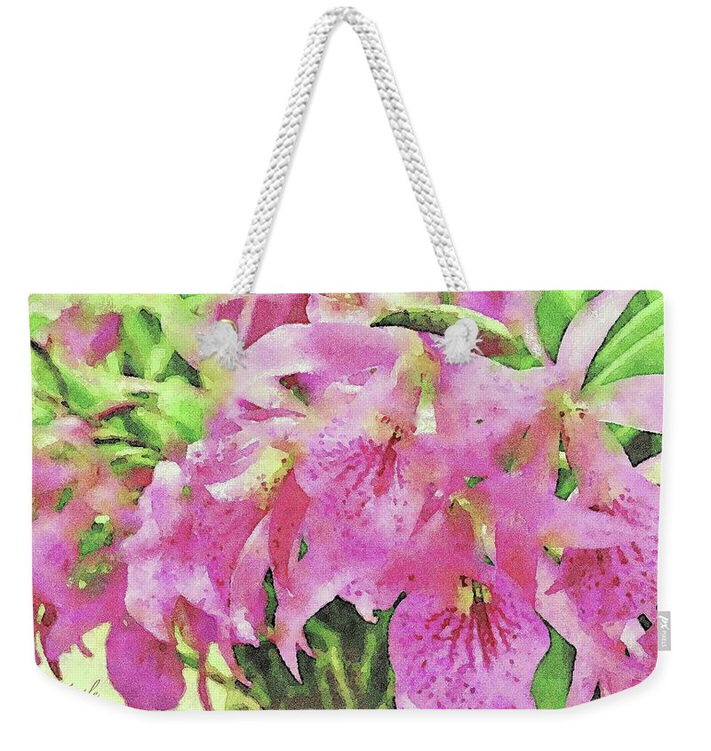 Pink Orchids Weekender Tote Bag featuring the digital art Pink Orchids by James Temple