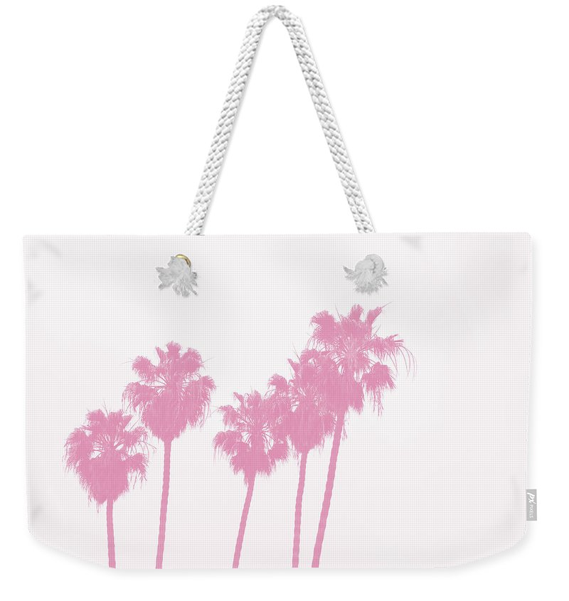Palm Trees Weekender Tote Bag featuring the photograph Pink Palm Trees- Art by Linda Woods by Linda Woods