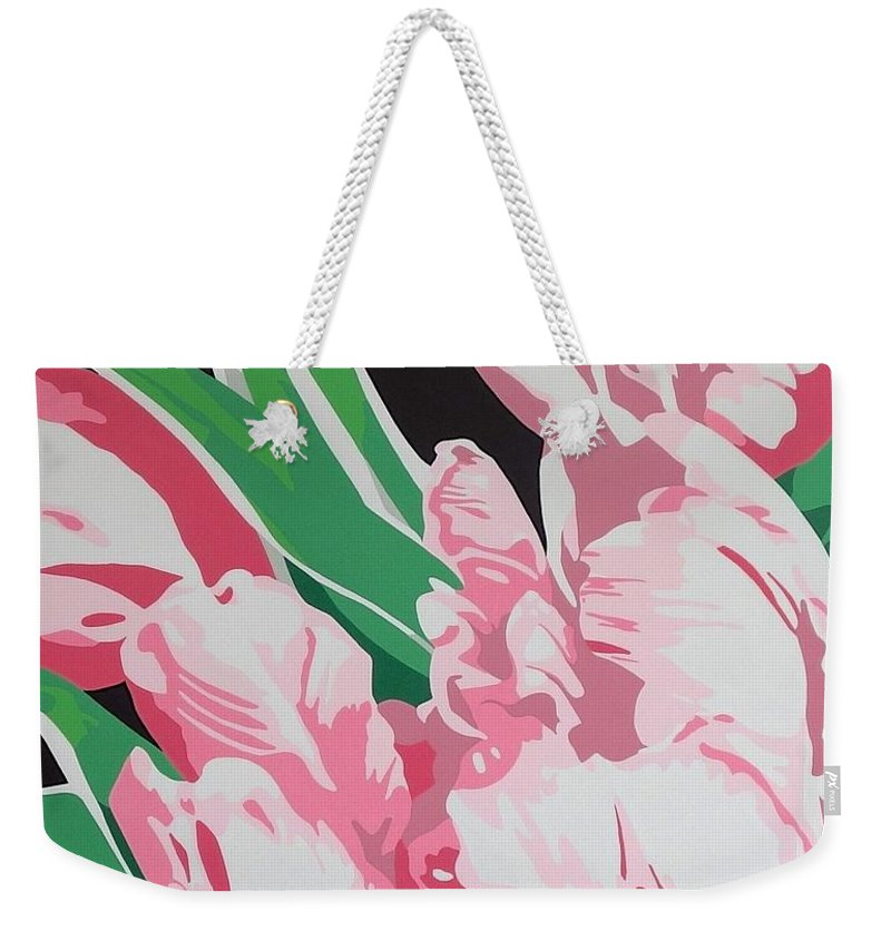 Acrylc Painting Weekender Tote Bag featuring the painting Pink Parrots by Susan Porter