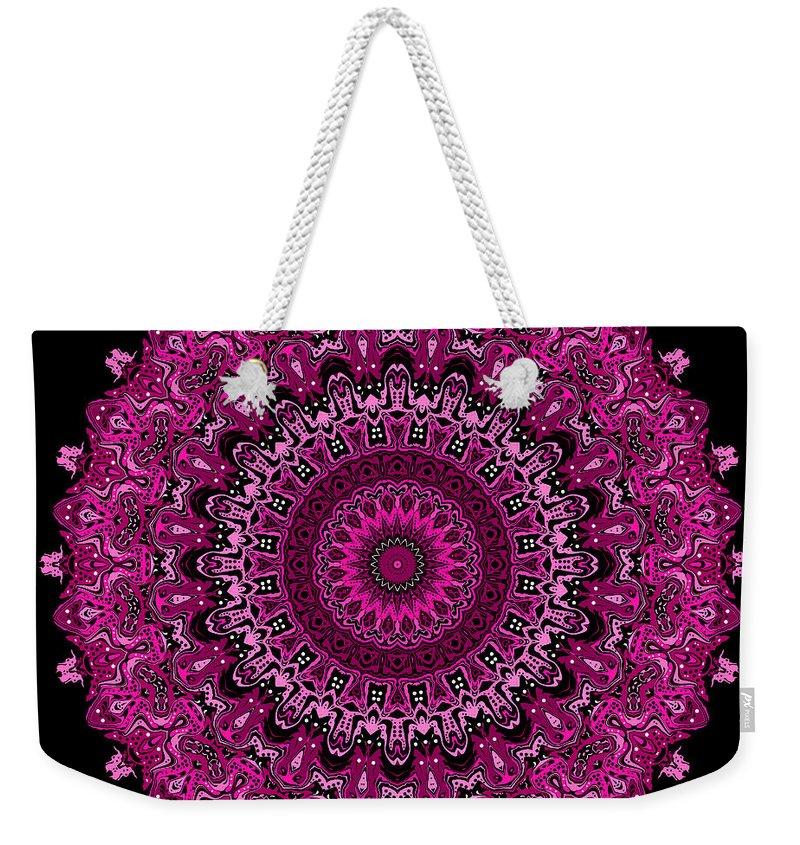 Digital Weekender Tote Bag featuring the digital art Pink Passion No. 7 Mandala by Joy McKenzie