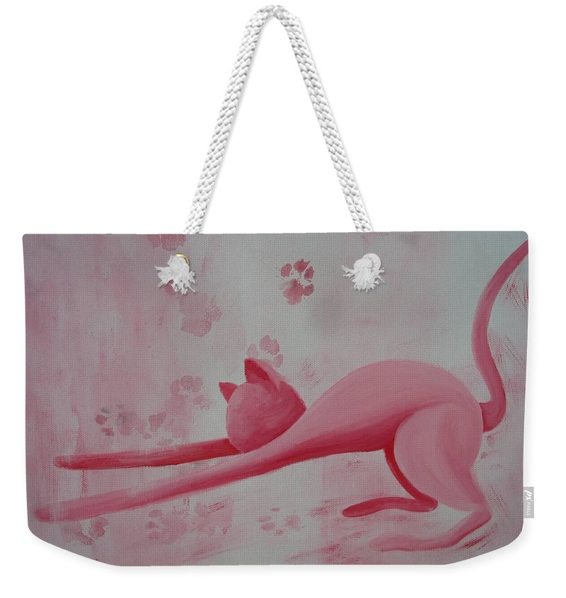 Pink Pause Weekender Tote Bag featuring the painting Pink Pause by Catt Kyriacou