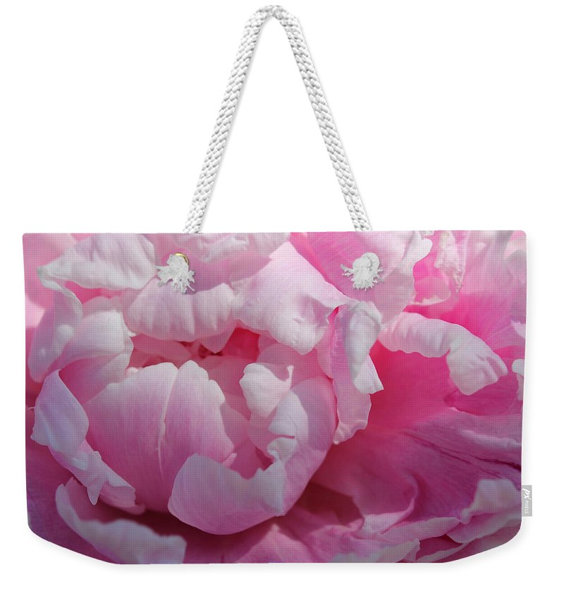 Pink Flower Weekender Tote Bag featuring the photograph Pink Peony by Lynne Guimond Sabean