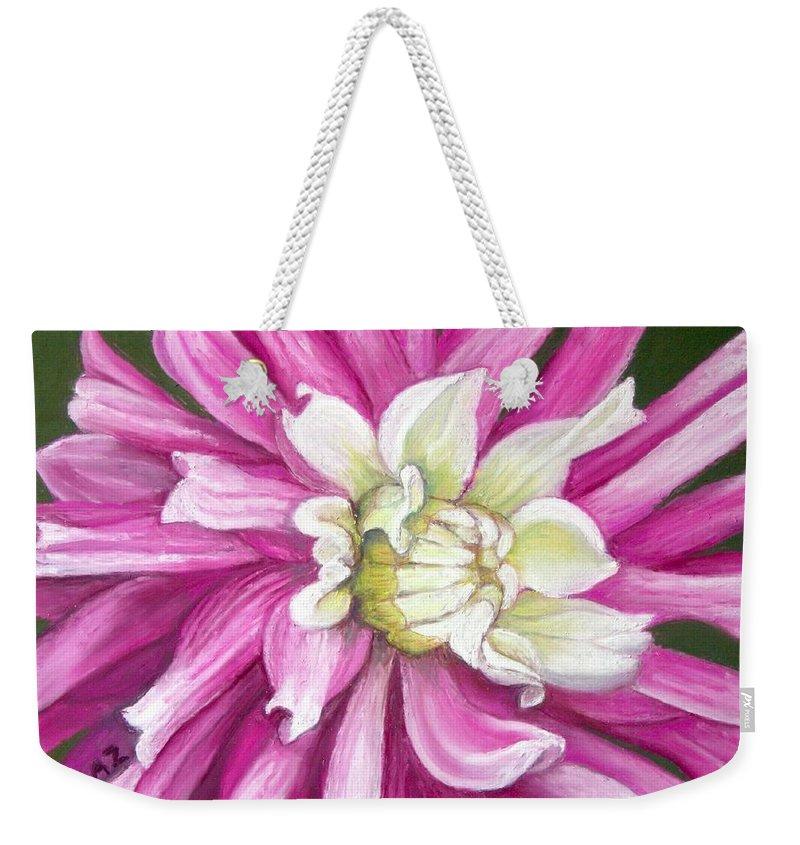 Floral Weekender Tote Bag featuring the painting Pink Petal Blast by Minaz Jantz