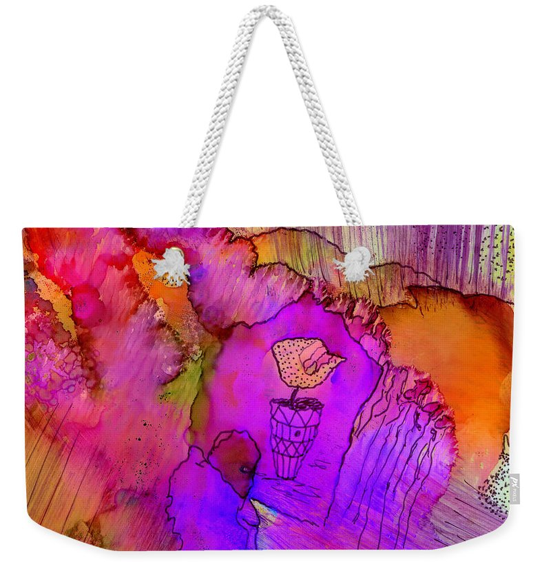 Woman Weekender Tote Bag featuring the mixed media Pink Petals I by Angela L Walker