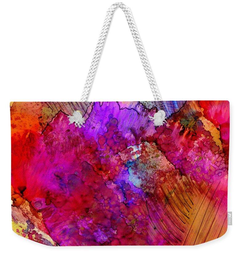 Pink Weekender Tote Bag featuring the painting Pink Petals II by Angela L Walker