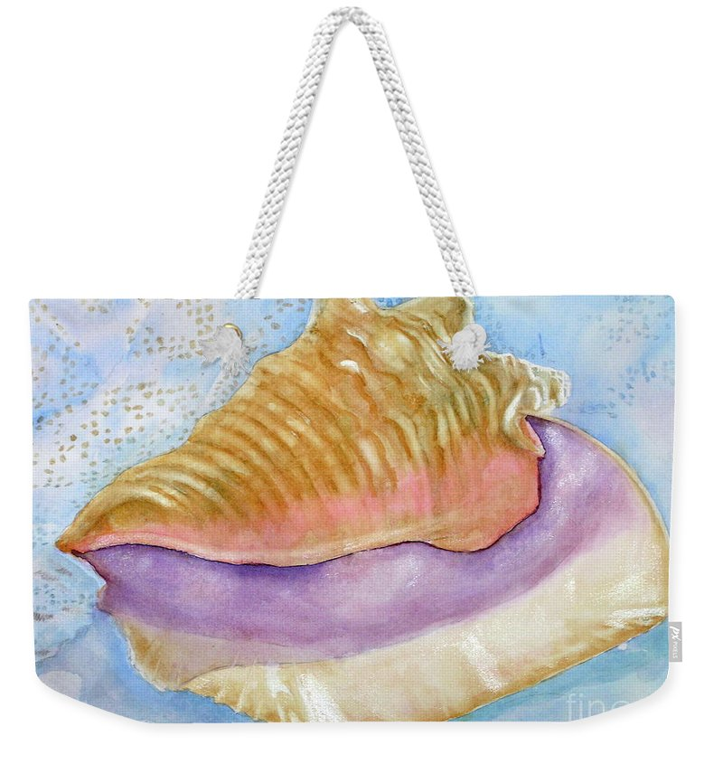 Shell Weekender Tote Bag featuring the painting Pink Queen Conch Shell by Midge Pippel