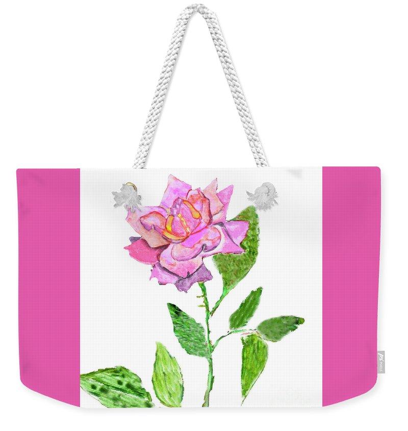 Art Weekender Tote Bag featuring the painting Pink Rose, Painting by Irina Afonskaya