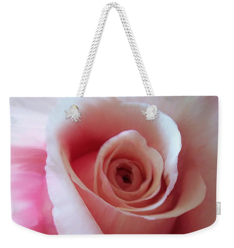 Rose Weekender Tote Bag featuring the photograph Pink Rose Painting by Sherrie Triest