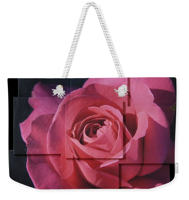 Rose Weekender Tote Bag featuring the sculpture Pink Rose Photo Sculpture by Michael Bessler