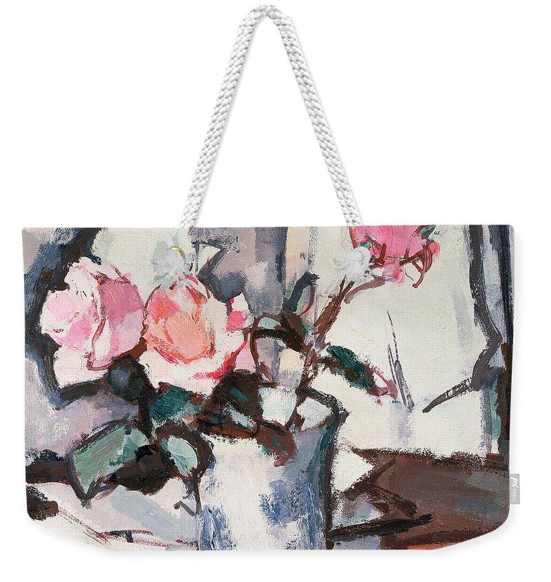 Pink Weekender Tote Bag featuring the painting Pink Roses by Samuel John Peploe
