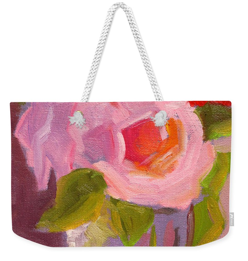 Pink Roses Weekender Tote Bag featuring the painting Pink Roses Still Life Painting by Nancy Merkle