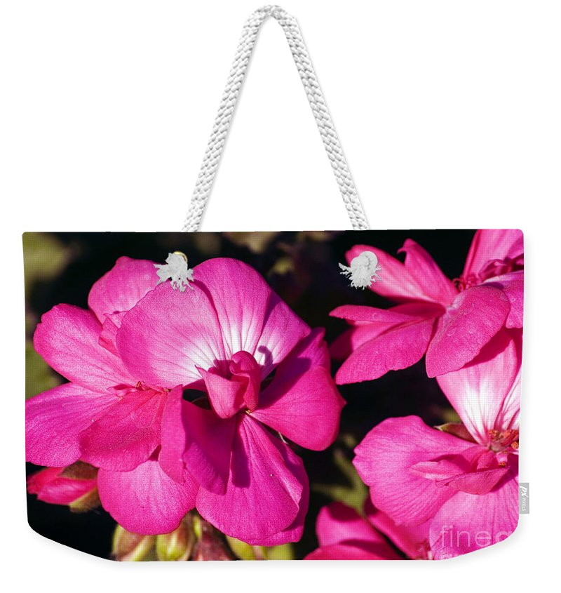 Clay Weekender Tote Bag featuring the photograph Pink Spring Florals by Clayton Bruster