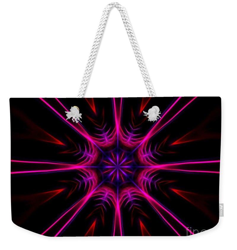 Fractal Weekender Tote Bag featuring the digital art Pink Starburst Fractal by Tracey Everington
