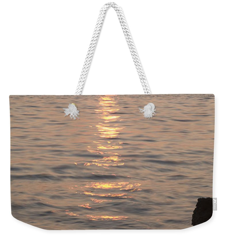 Sea Weekender Tote Bag featuring the photograph Pink Sunset Over The Istrian Peninsula by Ian Middleton