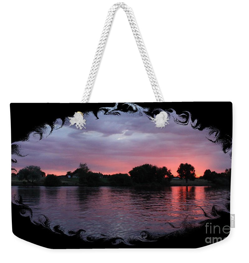 Sunset Weekender Tote Bag featuring the photograph Pink Sunset Panorama With Black Framing by Carol Groenen