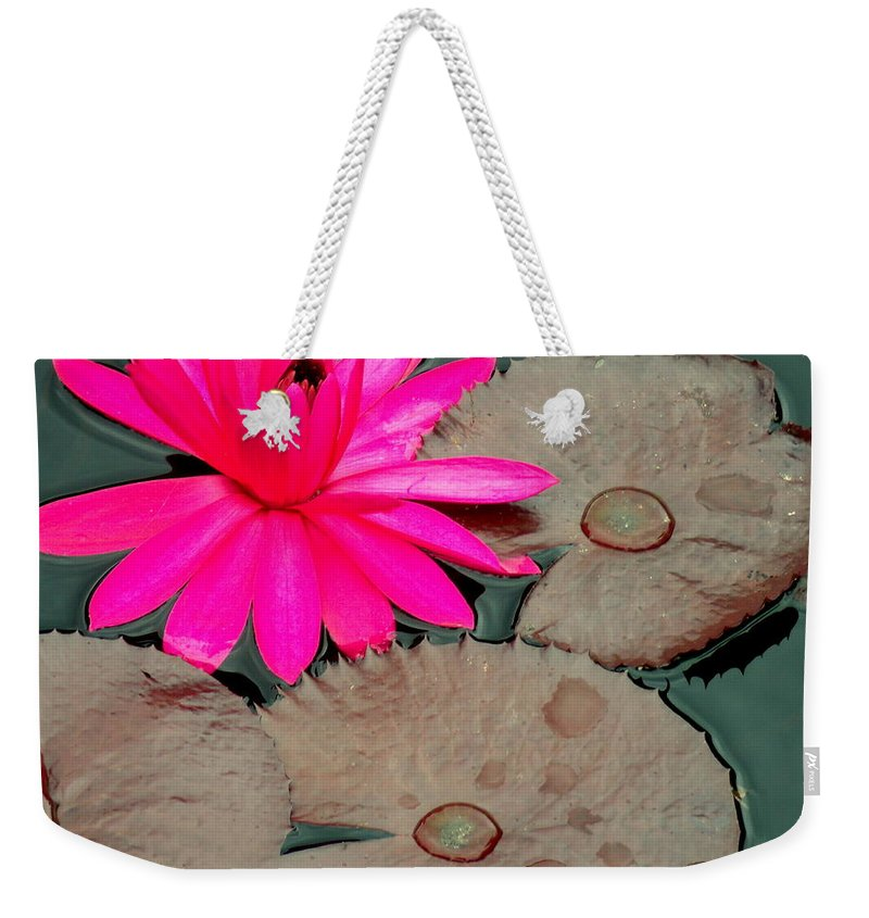 Pink Weekender Tote Bag featuring the photograph Pink Water Lily by Erin Rednour