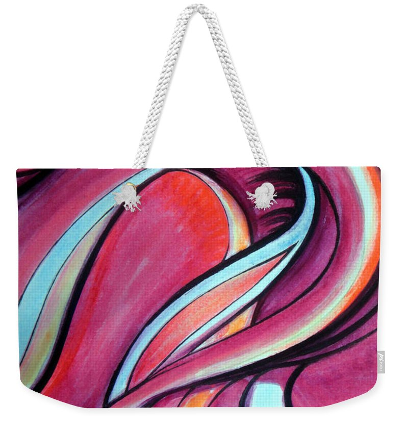 Pink Weekender Tote Bag featuring the painting Pink Wave Of Energy. Abstract Vision by Sofia Metal Queen