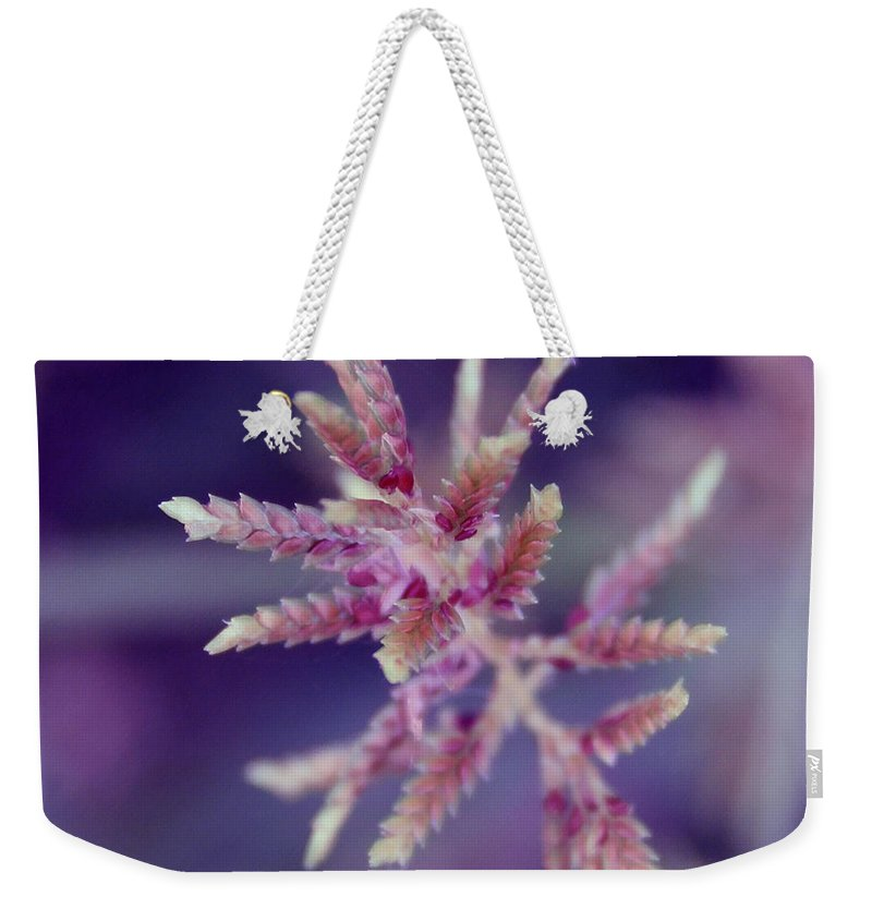 Nature Weekender Tote Bag featuring the photograph Pink Weed by Linda Sannuti