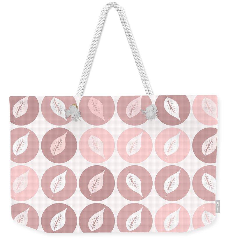 Pattern Weekender Tote Bag featuring the digital art Pinkish Leaves by Gaspar Avila