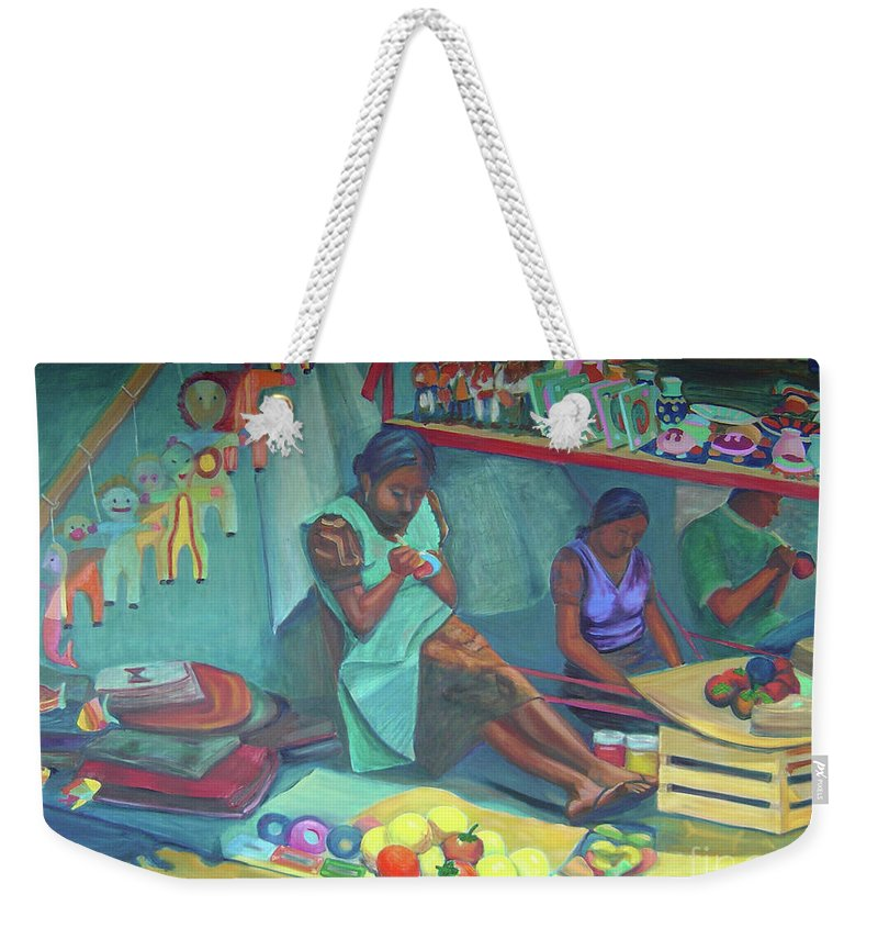 Mexico Weekender Tote Bag featuring the painting Pintando Artesanias by Lilibeth Andre