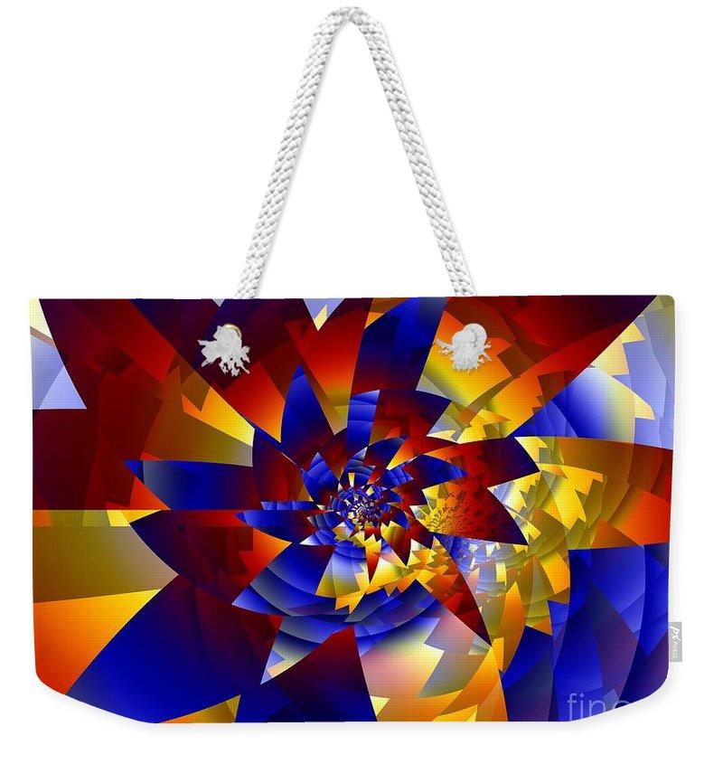 Pinwheel Weekender Tote Bag featuring the digital art Pinwheel by Ron Bissett