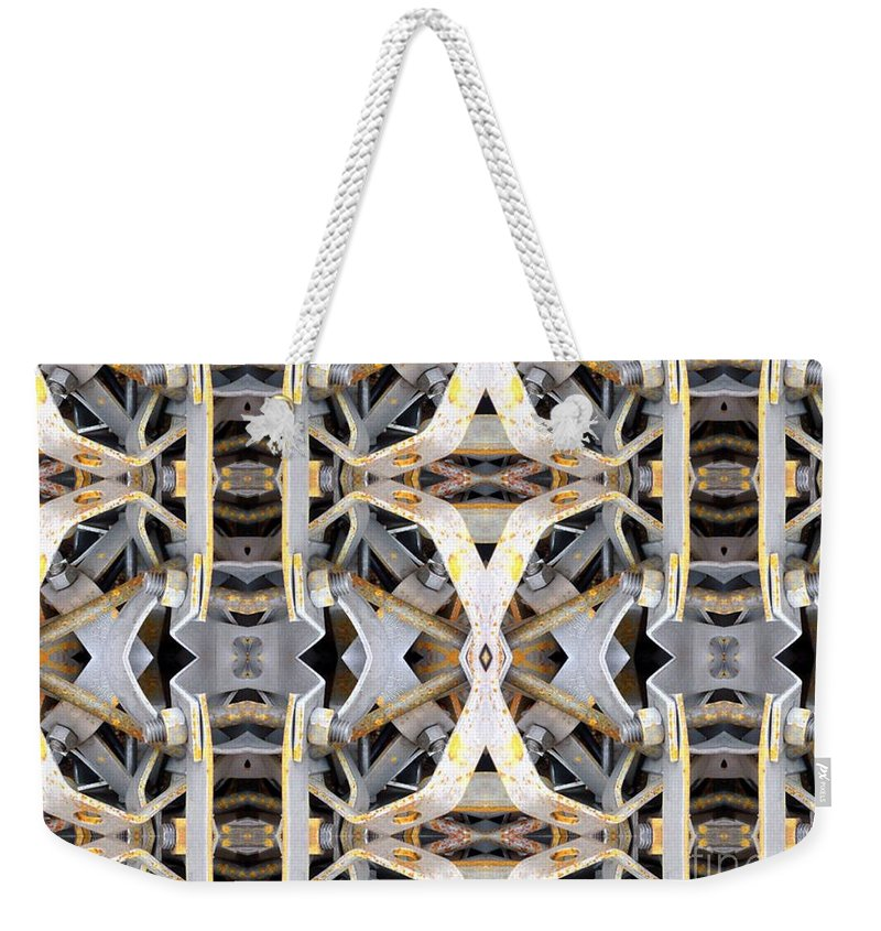 Abstract Weekender Tote Bag featuring the digital art Pipe Hanger by Ron Bissett