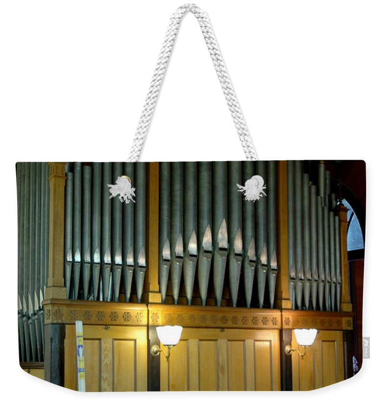 Usa Weekender Tote Bag featuring the photograph Pipe Organ Of Old by LeeAnn McLaneGoetz McLaneGoetzStudioLLCcom