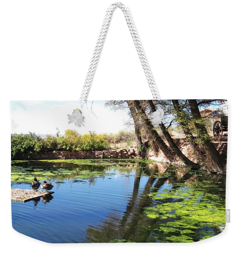Landscape Weekender Tote Bag featuring the photograph Pipe Springs Pond by Sharon Eng