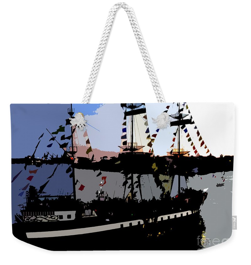 Pirate Weekender Tote Bag featuring the painting Pirate Ship by David Lee Thompson
