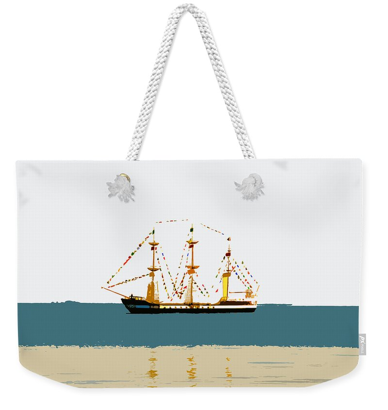 Pirate Ship Weekender Tote Bag featuring the painting Pirate Ship On The Horizon by David Lee Thompson