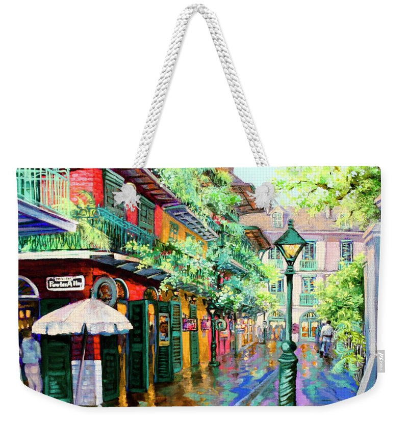 New Orleans Art Weekender Tote Bag featuring the painting Pirates Alley - French Quarter Alley by Dianne Parks