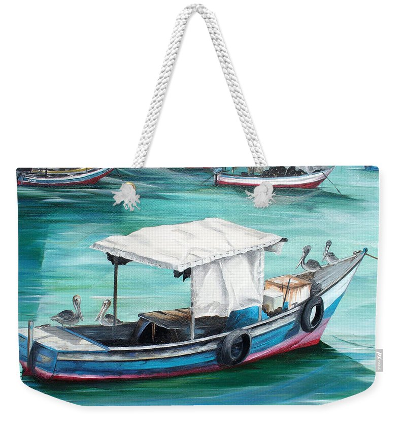 Fishing Boat Painting Seascape Ocean Painting Pelican Painting Boat Painting Caribbean Painting Pirogue Oil Fishing Boat Trinidad And Tobago Weekender Tote Bag featuring the painting Pirogue Fishing Boat by Karin Dawn Kelshall- Best