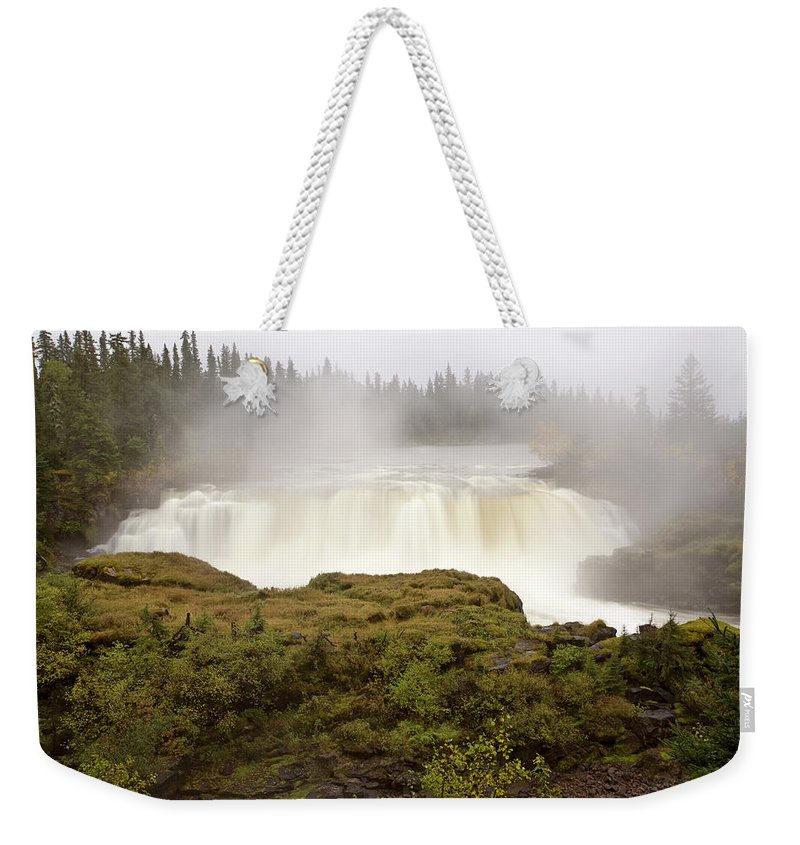 Water Weekender Tote Bag featuring the digital art Pisew Falls Northern Manitoba Canada by Mark Duffy